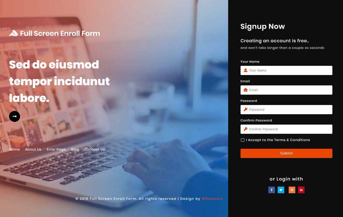 W3layouts On Twitter Full Screen Enroll Form Responsive