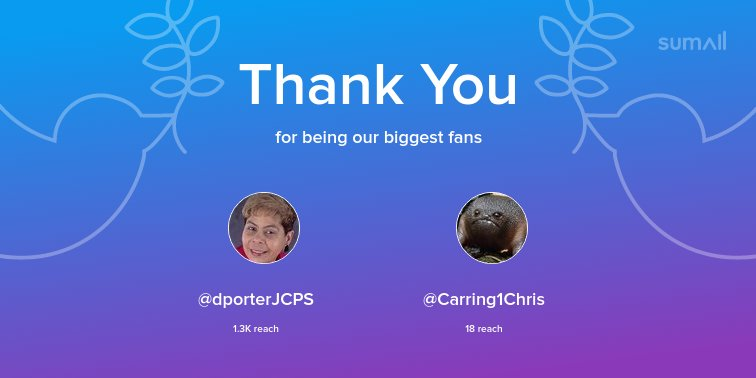 Our biggest fans this week: @dporterJCPS, @Carring1Chris. Thank you! via sumall.com/thankyou?utm_s…