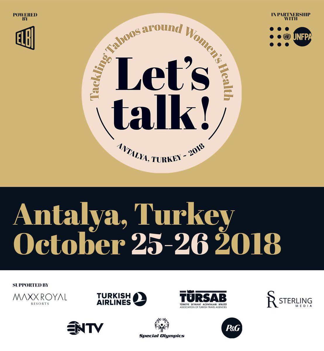 Super exciting day at Elbi HQ. We are proud to announce our #LetsTalkAboutIt event in partnership with @UNFPA discussing  all things taboo & stigma around women's health. It will take place @MaxxRoyal in #Antalya this October. Hosted by our very own @NataSupernova https://t.co/ZZ9pC0EzEa