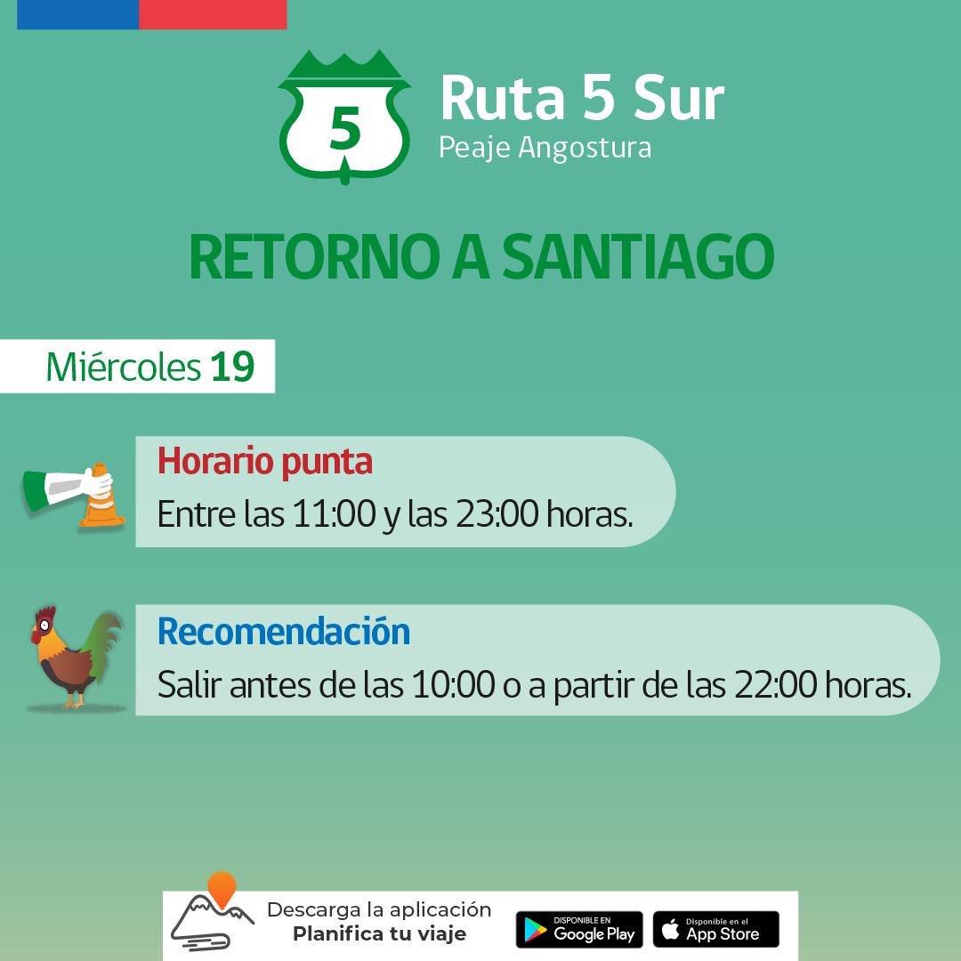 RT @GobCordillera ¿REGRESAS A SANTIAGO?  Te entregamos el Plan de Contigencia Vial dispuesto por @mop_chile para evitar congestiones hoy en la #RMdeTodos. #PlanificaTuViaje