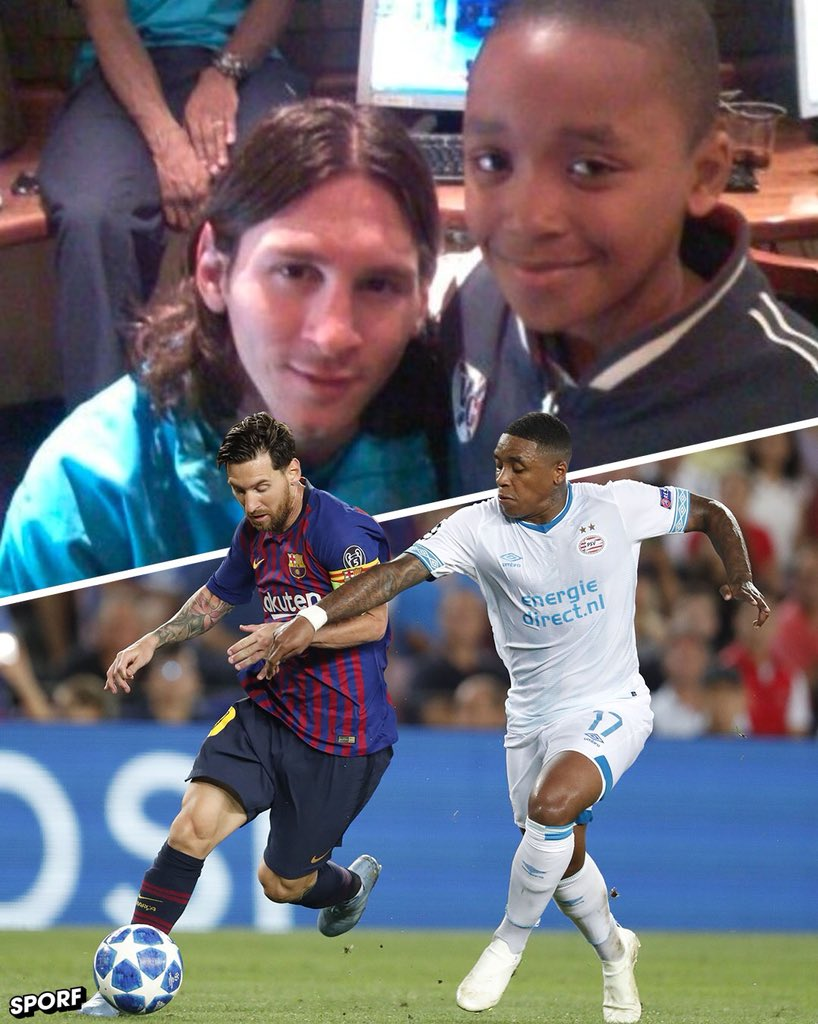 📆 10 Years Ago:   📸 A 10-year-old @StevenBergwijn takes a photo with Lionel Messi.  📆 10 Years On:   🇳🇱 @StevenBergwijn plays against @FCBarcelona & Lionel Messi for  at @PSVCamp Nou in the .   @ChampionsLeague🙌 What a story.