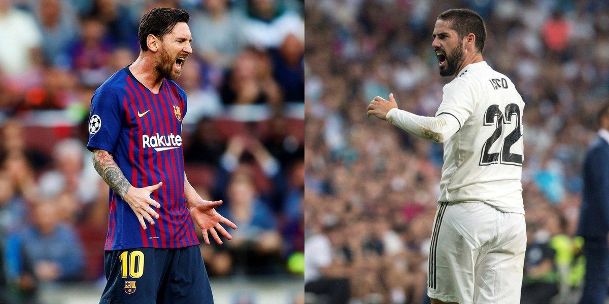 🎩 MAGIA: Messi e Isco tirando faltas...  ¿Tu favorita?   🔁 Messi  ❤ Isco   #UCL