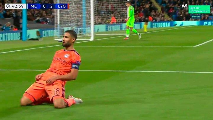 Zurdazo de Fekir, segundo del Lyon... y Guardiola sufriendo desde la grada. #ChampionsMLC