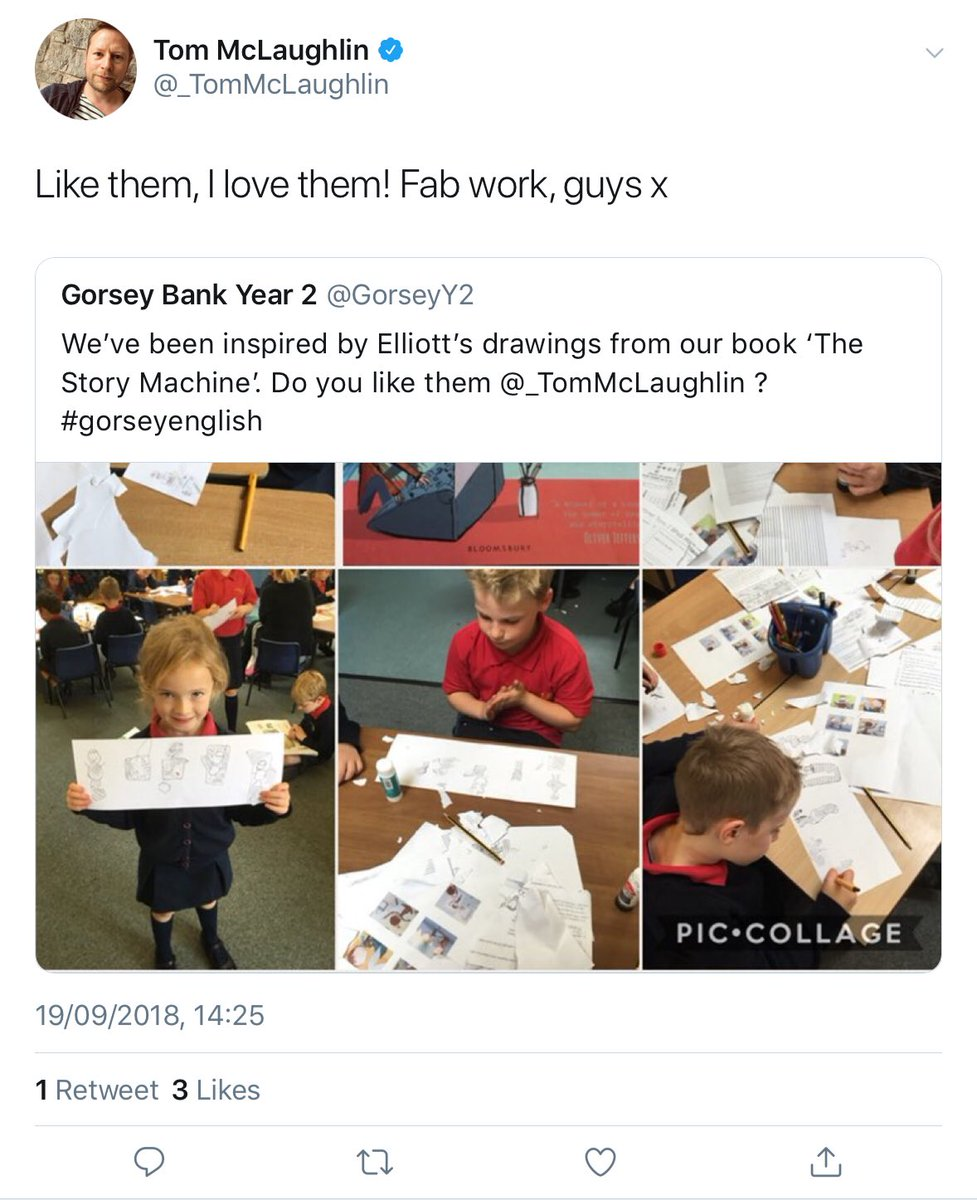 test Twitter Media - Great to see @GorseyY2 getting the nod from Tom McLaughlin, author of their current text The Story Machine! #gorseybookclub https://t.co/XF4prxRbDr