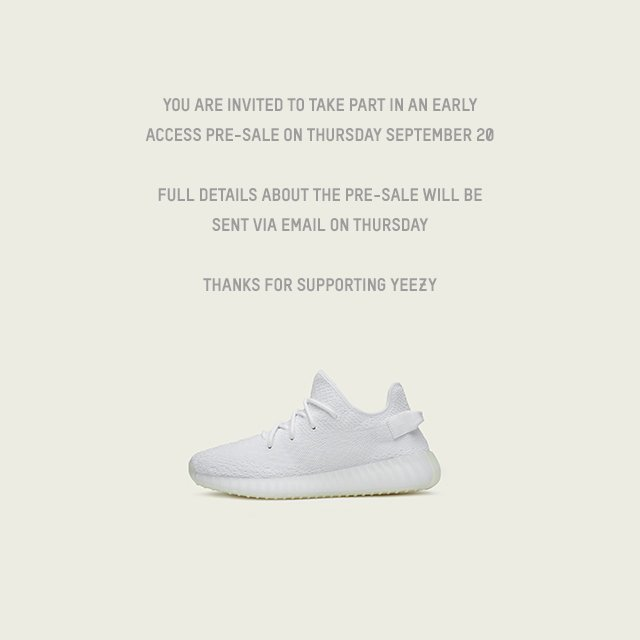 cfbc2ea1451 The YEEZY BOOST 350 V2 TRIPLE WHITE will be available via EARLY ACCESS  starting tomorrow
