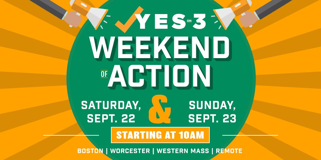 📋Hundreds of volunteers are hitting the streets this weekend to make sure MA voters know: A #YesOn3 vote is a vote to uphold dignity and respect. Join our Weekend of Action on Saturday or Sunday! https://t.co/KHR1igwjGj #MAPoli