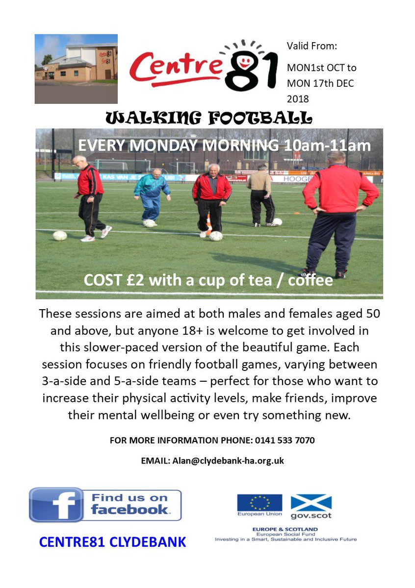 Every Monday morning 10am-11am from Monday 1st Oct @Centre81_CHA Our new walking football session begins. For futher info call 0141 533 7070 #walkingfootball #clydebank #community<br>http://pic.twitter.com/CwA3YlizSx