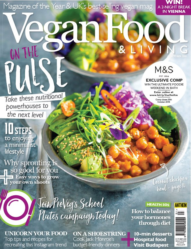 The latest issue of @veganfoodliving is on sale today. This issue has an EXCLUSIVE competition in @marksandspencer to win a #foodie weekend in Bath! #vegan #WinItWednesday 🍽