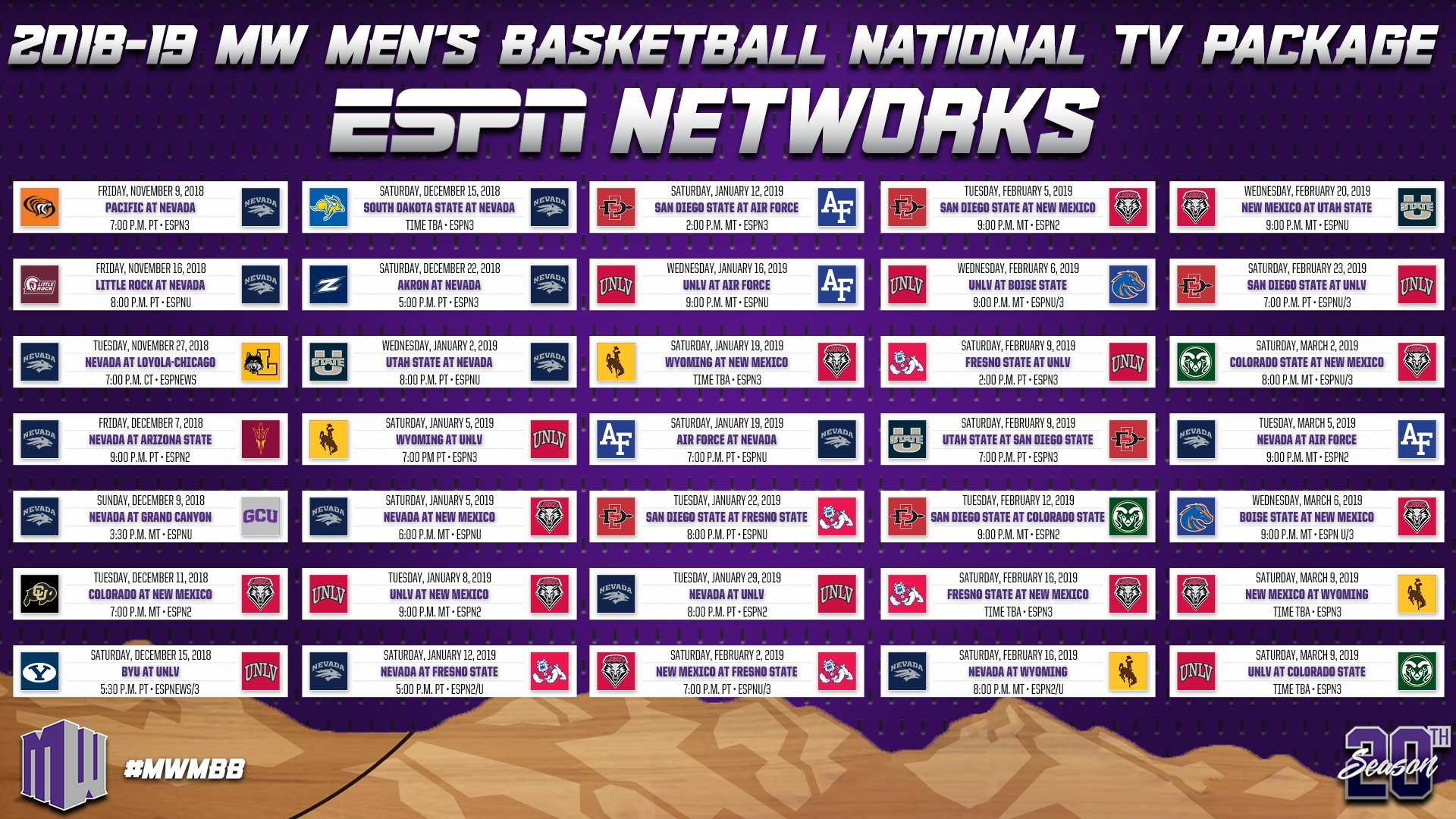 "Mountain West on Twitter ""We re ting close to some MW MBB action Check out the national TV broadcast schedules for the 2018 19 MWMBB 🏀 season"