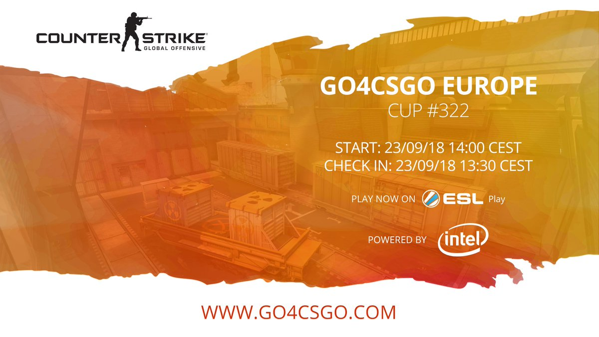 🇪🇺 #Go4CSGO Europe Cup #322 powered by @IntelGaming 📆 This Sunday 🕑 14:00 CEST 💶 €1000 in September ➡️ esl.gg/go4csgo-322