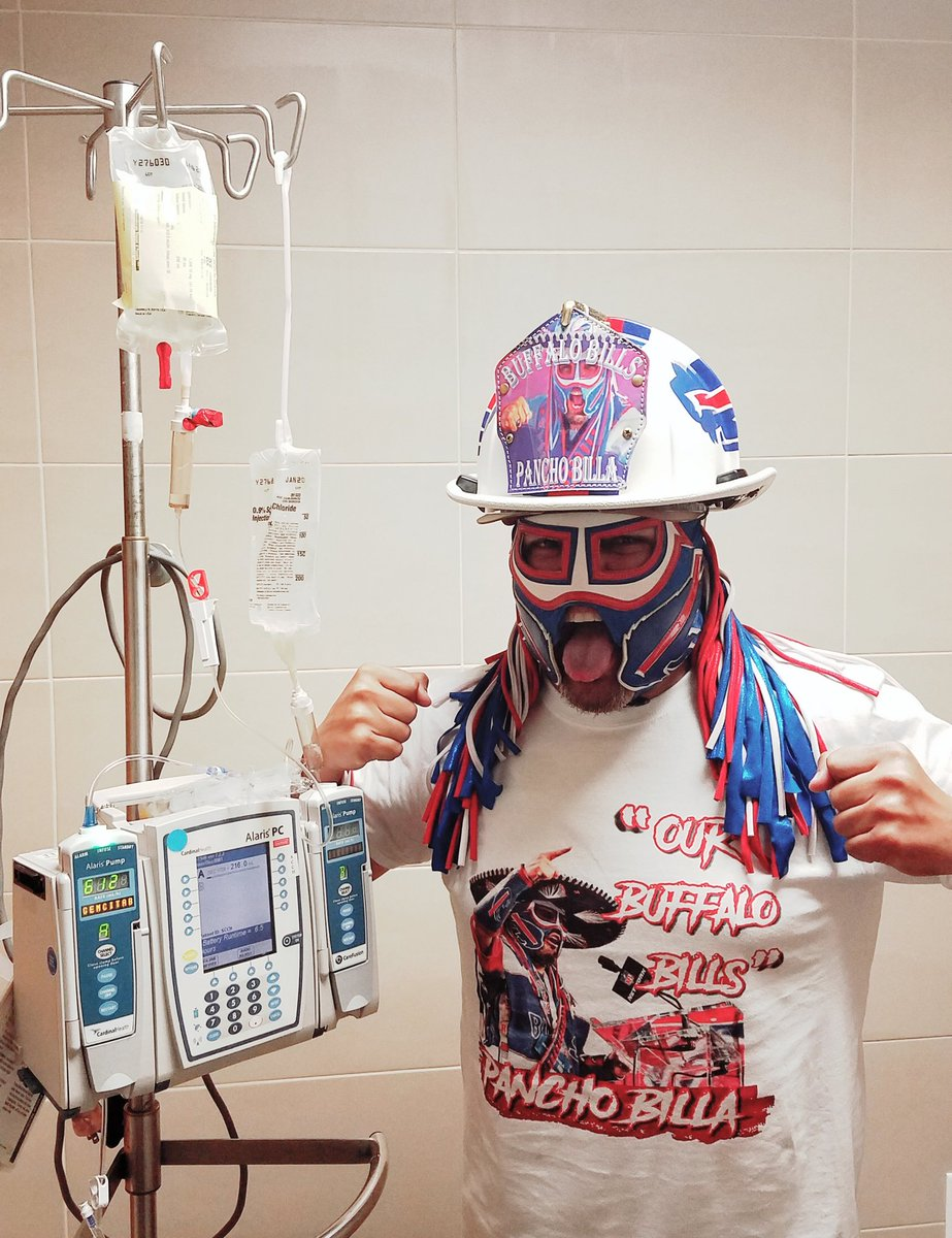 BUF yest, Chemo #16 today, MIN this wknd! Keeping my promise to my amigo @BillsFireChief , who presented me this Bills Custom Fireman🔥hat, that it would be my #PanchoPower motivation for chemo this week. #VivaLosBills!! Feeling 💪!! 😜🙏