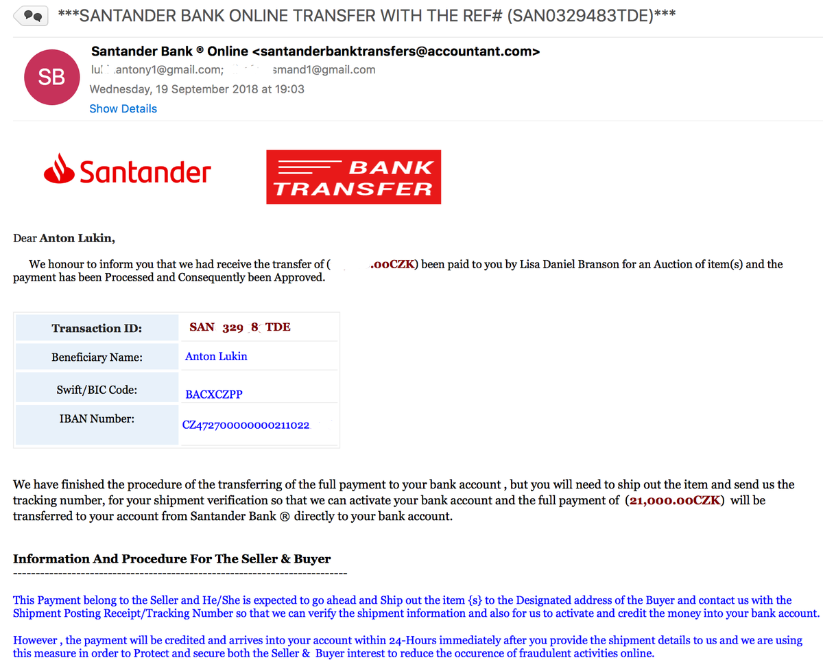 santander iban payment