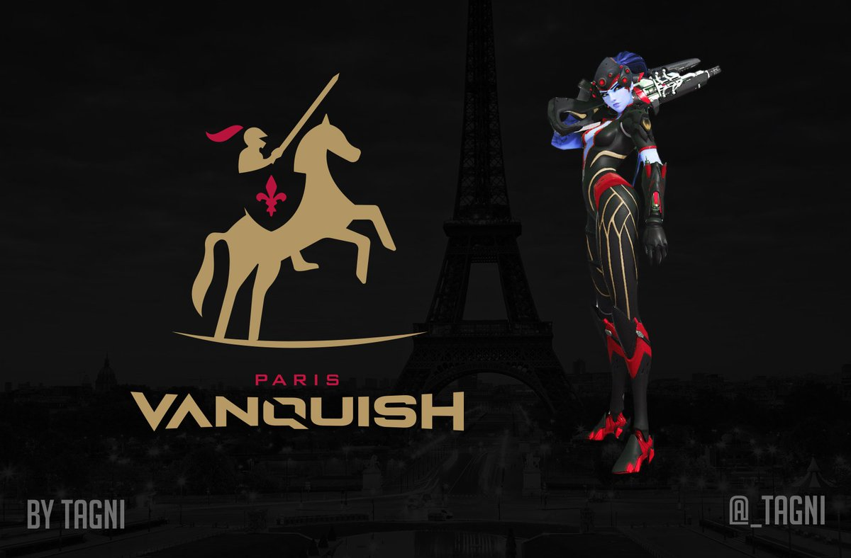 With the #OWWC coming to Paris, I figured I should throw this out there. My concept for the @OverwatchFR OWL Team. Introducing the Paris Vanquish!  #ParisVanquish #OWL2019 (sorry no jersey just yet )<br>http://pic.twitter.com/vTnwZR4ZVF