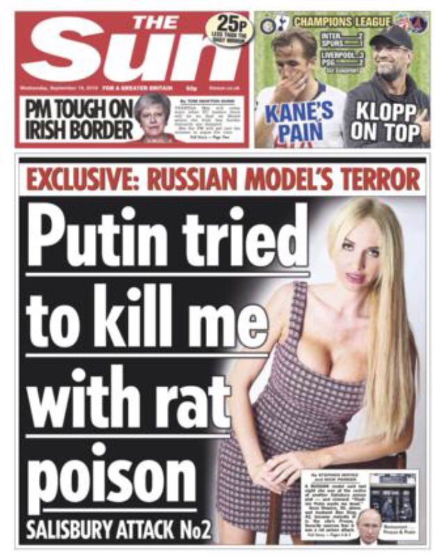 Latest UK #Russia scare: Putin 'tried to kill woman in new Salisbury poison attack' thesun.co.uk/news/7291372/a… UK police: We don't regard the incident as as anything suspicious theguardian.com/uk-news/2018/s…