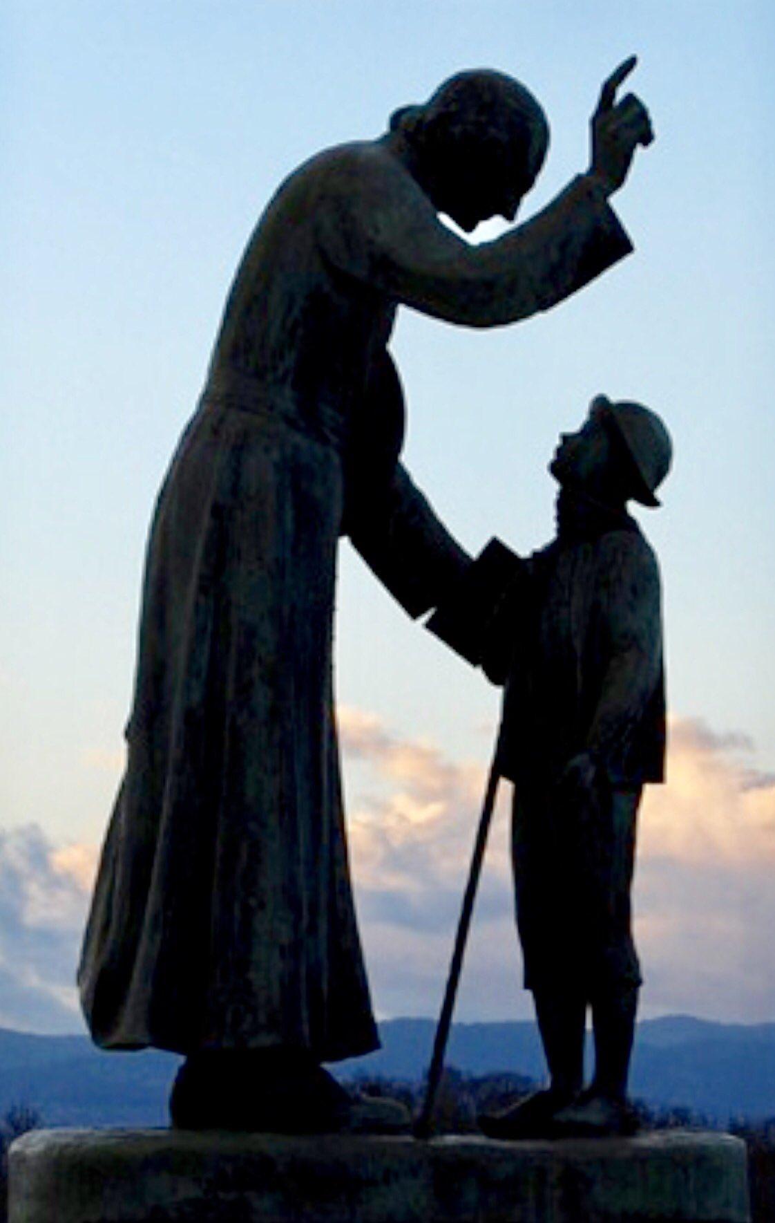 Jean-Marie Vianney, curé d'Ars, montrant ç un enfant le chemin du ciel
