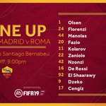 TEAM NEWS | 📋 | Here it is, our starting line-up for tonight's @ChampionsLeague game against @realmadriden! DAJE! 🐺 #ASRoma #UCL #RealRoma