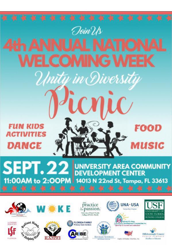Join us! We will be celebrating Welcoming Week with a family-friendly picnic. Food, music, dance and more! https://t.co/KWsDzmKwB7