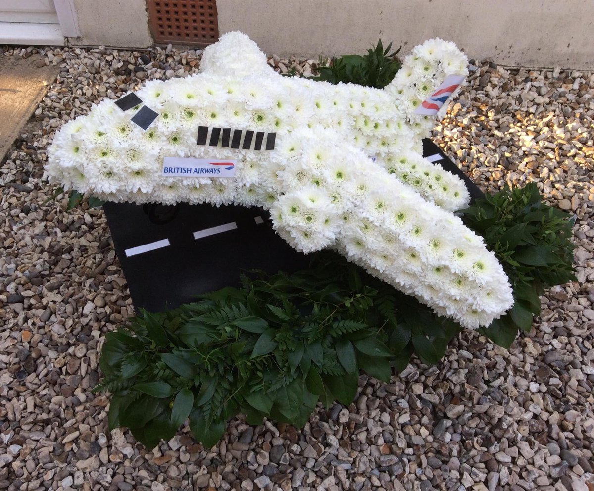 Georgelesleyflowers georgeshopsales twitter the moment what will our next floral challenge be bespoke floral funeral arrangement white britishairways runway aeroplane flowers swindon izmirmasajfo