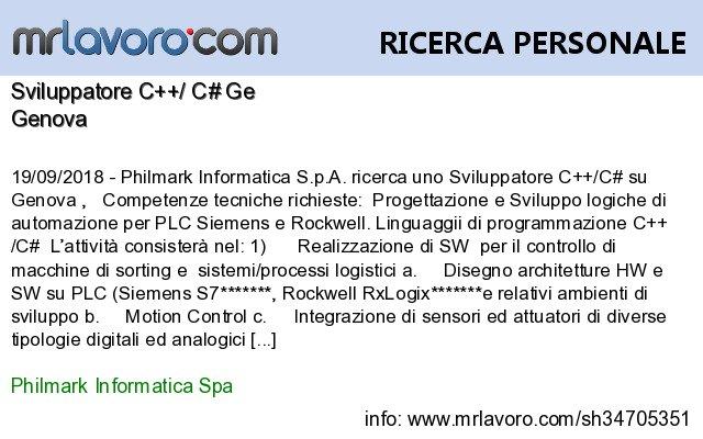 Nuove offerte di #lavoro #Genova:Sviluppatore C++/ C# GeInfo:  https:// www.mrlavoro.com/tw34705351  - Ukustom