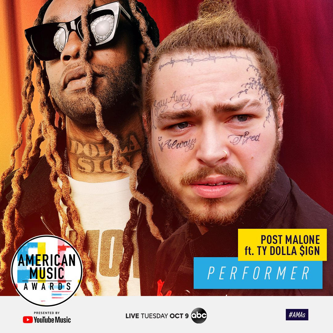 SO pumped to watch @PostMalone + @tydollasign, @Imaginedragons and @carrieunderwood perform at the @AMAs! LIVE October 9th at 8/7c on ABC. #AMAs
