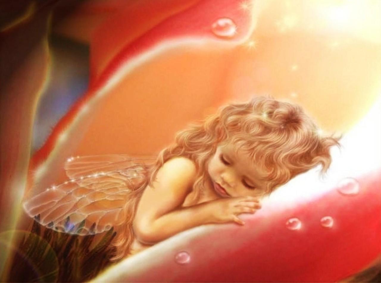 Картинки спокойной ночи с ангелами девушками