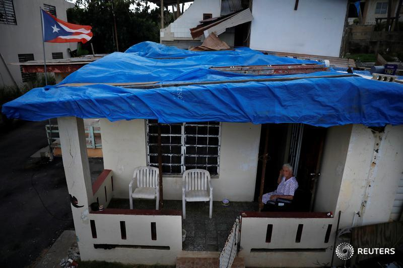 A year after Hurricane Maria killed almost 3,000 people, about 45,000 homes still have 'blue roofs,' as tarps installed by FEMA are called. More images from Puerto Rico one year after the storm: https://reut.rs/2PQwivx  📷 @ReutersBarria