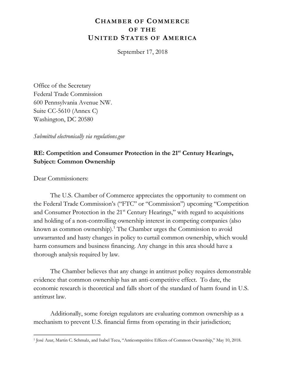 test Twitter Media - .@USChamber @USChamberCCMC was pleased to submit comments to the @FTC on Common Ownership. You can read the full letter here  https://t.co/ob3KyKCBil https://t.co/maEew3duJr
