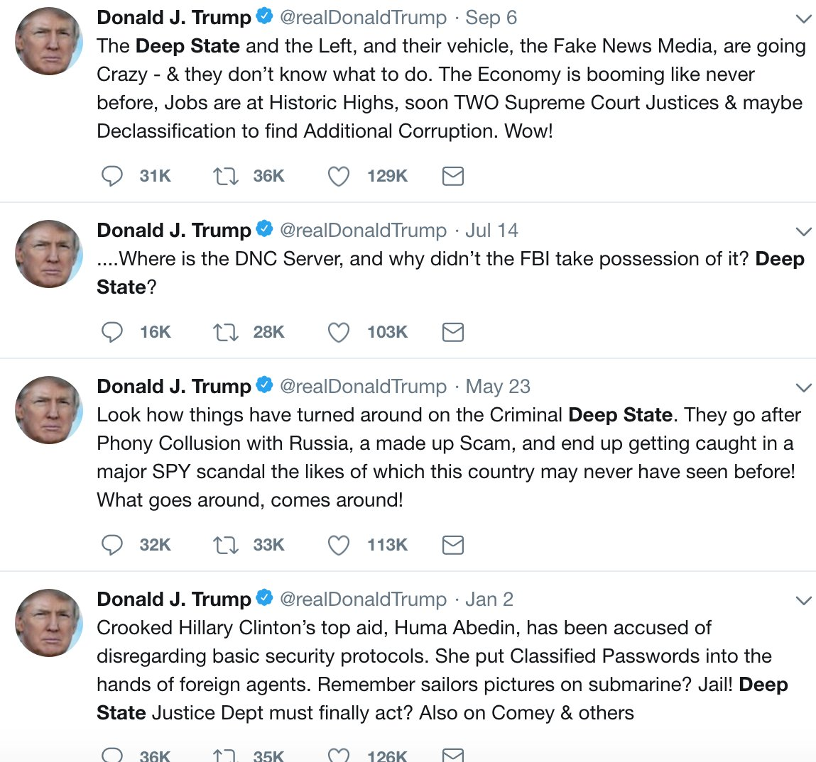 Trump tells The Hill he doesn't like to use the term 'deep state' because 'it sounds so conspiratorial' and he's 'really not a conspiratorial person.' https://t.co/jJpHP0EGMO Previously: