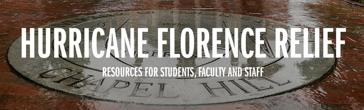 Serving our state is an important part of #UNC's mission and we'll do everything we can to help those in our own communities recover from Hurricane Florence. See our resource guide here, including a survey for students who might need support: https://t.co/1stYDDyC4N https://t.co/…