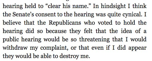 Hill: 'In hindsight I think the Senate's consent to the hearing was quite cynical.'