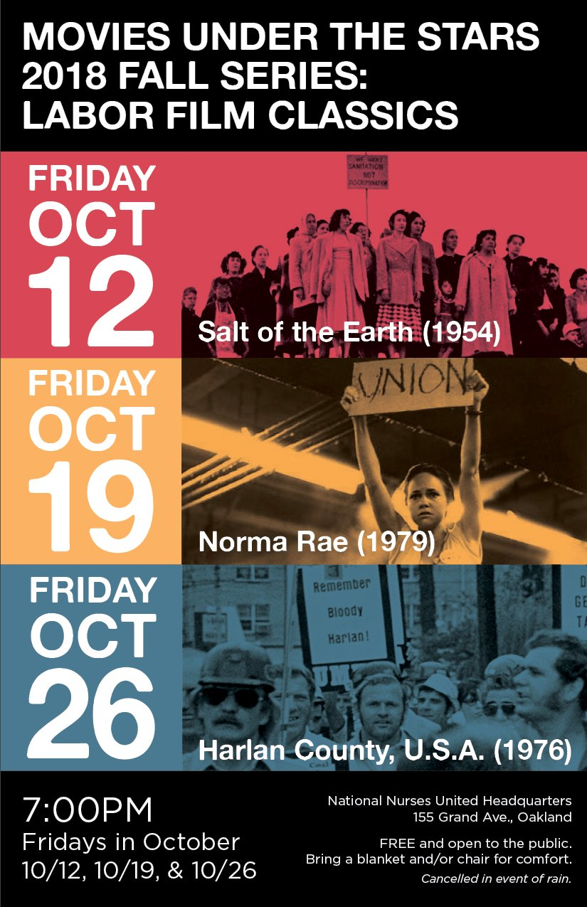 Movies Under the Stars: Labor Film Classics @ National Nursed United HQ | Oakland | California | United States