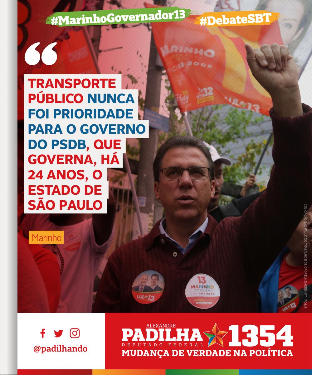 'Transporte público nunca foi prioridade para o governo do PSDB, que governa, há 24 anos, o estado de São Paulo' - .@marinhopt    #DebateSBT#MarinhoGovernador13#Padilha1354#MudançaDeVerdade