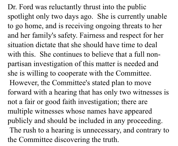 New statement from Christine Blasey Ford's lawyer, Lisa Banks:
