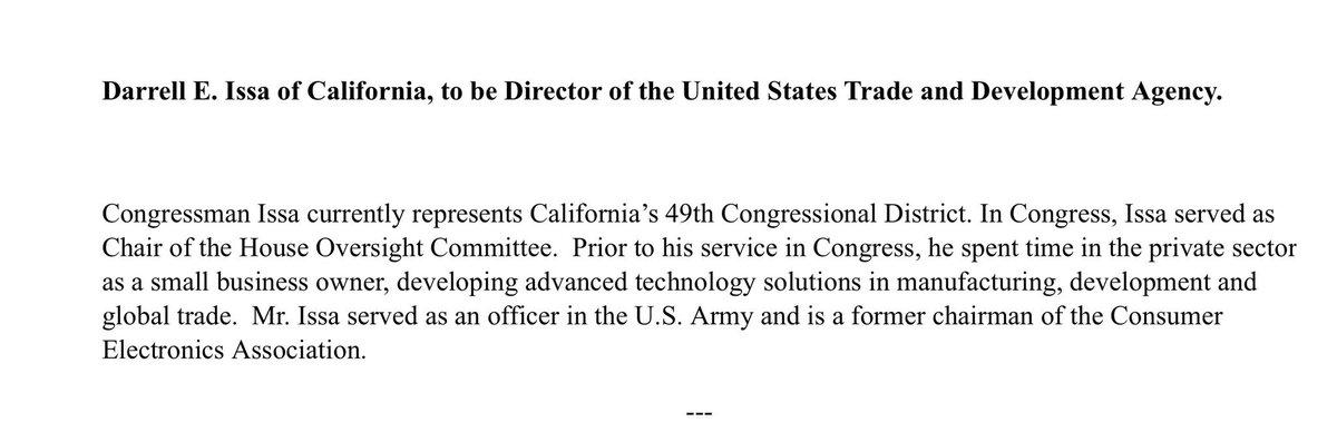 Trump nominates retiring Rep @DarrellIssa (R-CA) to be Director of US Trade and Development Agency