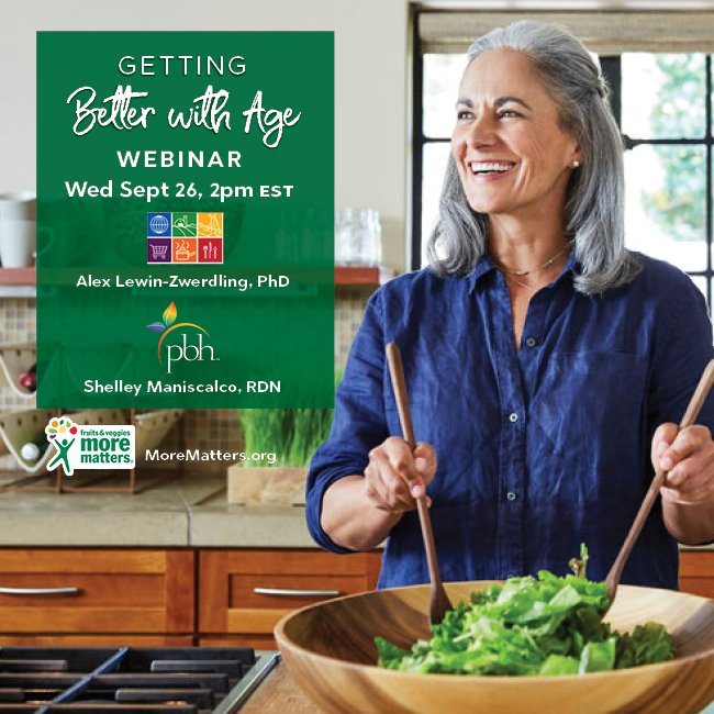 Tune in next Wednesday for our Getting Better with Age Webinar with @FoodInsight and @AARP where we'll dish all you need to know on how to age in the best way with the help of fruits & veggies! Register now here: https://t.co/c2tdTxcSVh