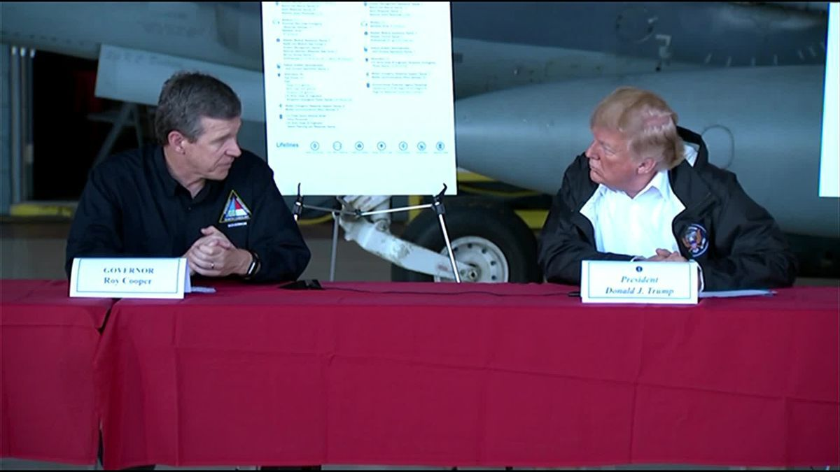 """To the families who have lost loved ones, America grieves with you, and our hearts break for you. God bless you.""  President Trump visits NC to survey Hurricane Florence damage >> https://t.co/l91C2MAiGV"