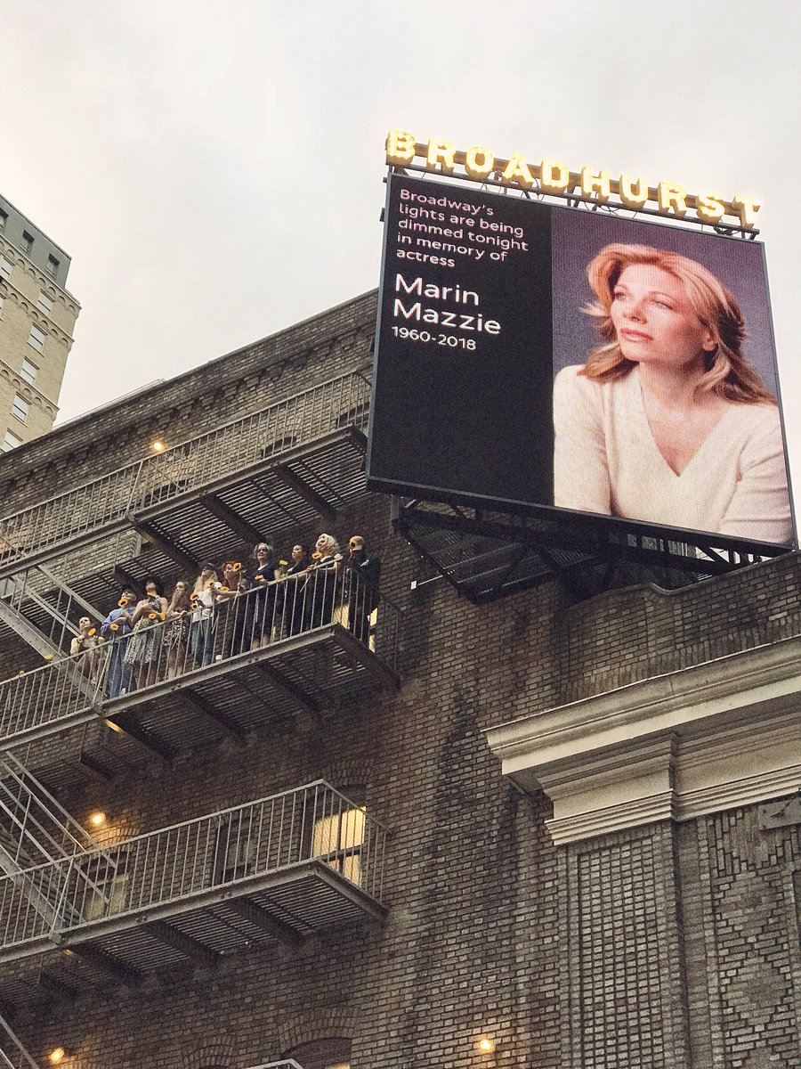 As broadway dimmed its lights for the great @MarinMazzie, the ladies of @AnastasiaBway paid tribute on our fire escape holding sunflowers, her favorite.  How grateful we all are to have known her, to have witnessed her talent. We are truly the lucky ones.<br>http://pic.twitter.com/tEG4oxRFDM