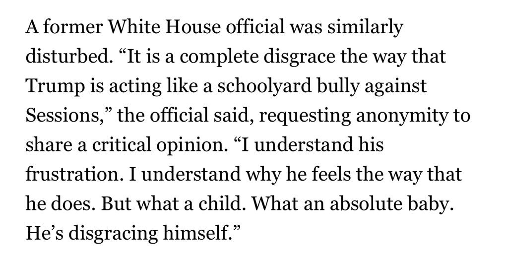 "Even Trump's allies have grown frustrated w his scathing attacks on Sessions. One former White House official called him ""a schoolyard bully"" and ""an absolute baby."" https://t.co/NlWEK21mVi"