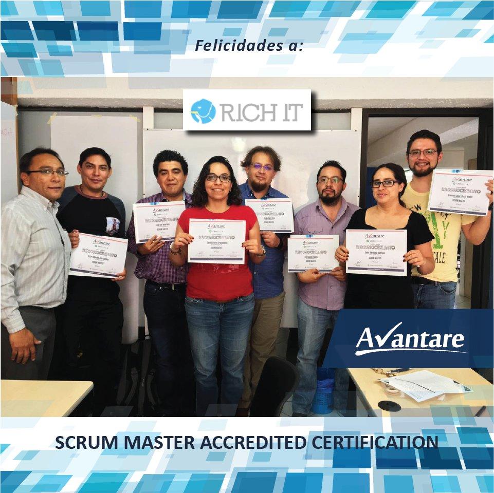 ✔ Felicitamos a la empresa Rich It por su SCRUM MASTER ACCREDITED CERTIFICATION y agradecemos a nuestro instructor Ramón Aguilar.  #Scrum #Proyectos #Agil #Avantare #ScrumMaster #Certificacion
