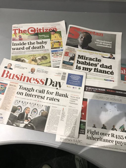 [ON AIR] @davidosullie goes through today's newspapers before we give away money 💰 for the last time this week. Have you entered our Emperors Palace Competition yet? 🤷🏾♂️ #BreakfastwithDavid Photo