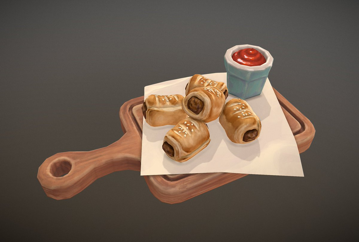 Sausage Rolls hot and fresh right out of the oven!  Kinda late to the party, but here&#39;s my entry to @lowpolycurls Handpainted #FoodChallenge :3  Sketchfab https:// skfb.ly/6BHHE  &nbsp;   #B3D #Blender3D #handpainted #lowpoly<br>http://pic.twitter.com/Y9yE3cKqP1