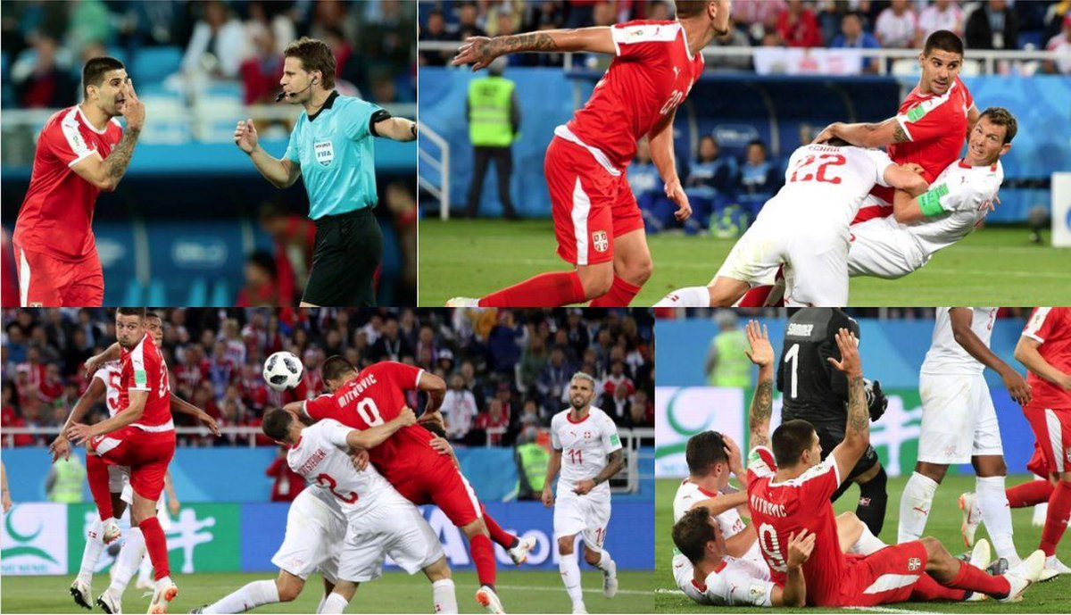 Felix Brych, will not be used again at the World Cup. Aleksandar Mitrovic was wrestled to the ground by two Swiss players. No penalty, no VAR. Brych should be banned for life, after ridiculous red card for Ronaldo #FelixBrych #CristianoRonaldo