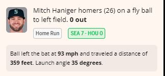 The #Mariners @M_Hanny17 adds on, drilling home run no. 26 to left field. Details: