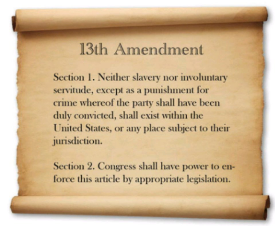 Recreated image of a parchment stating the 13th constitutional Amendment: Section 1- Neither slavery nor involuntary servitude, except as punishment for crime whereof the party shall have been duly convicted, shall exist within the United State or any place subject to their jurisdiction. Section 2- Congress shallhave power to enforce this article by appropriate legislation.