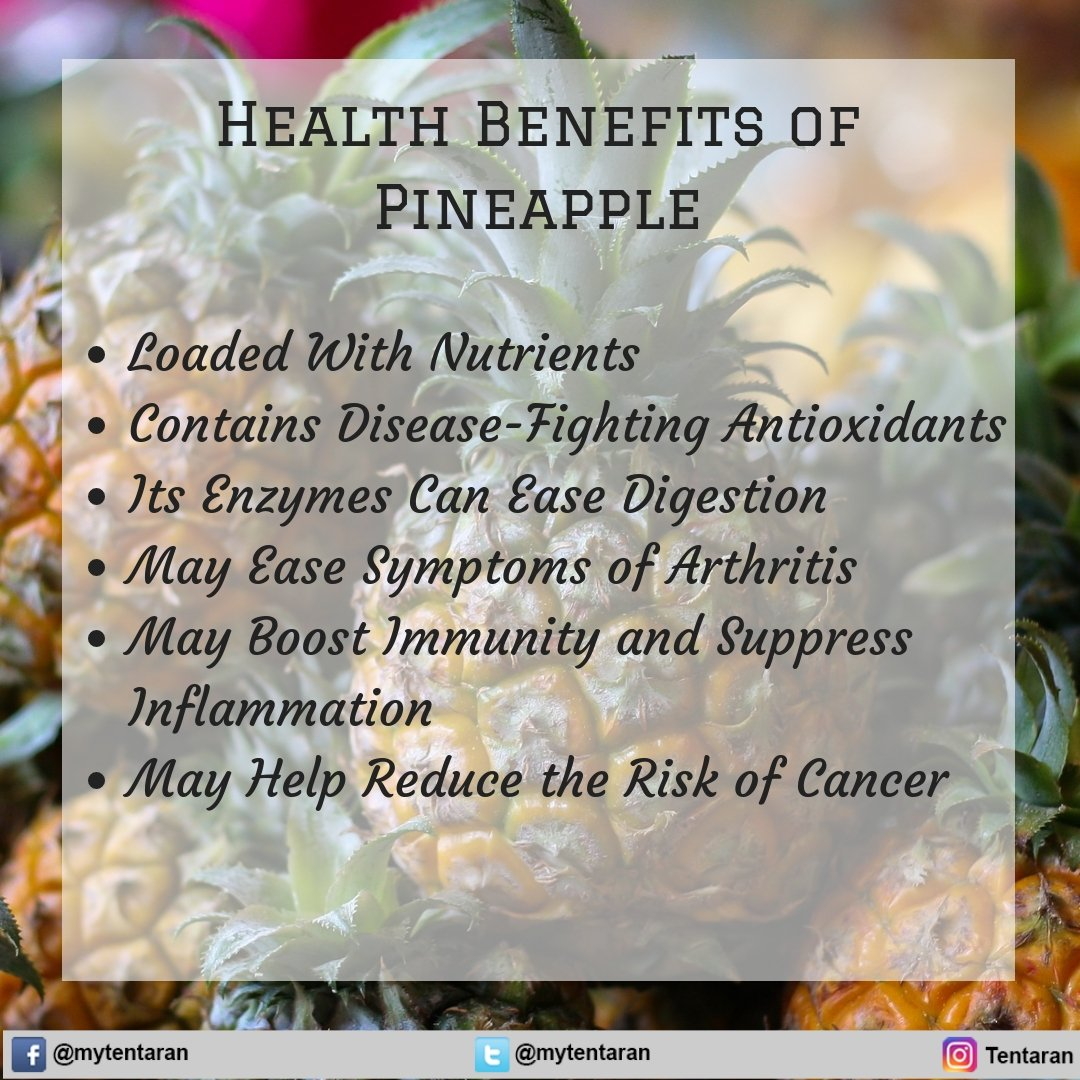 #Health Benefits of Pineapple  Loaded With #Nutrients Contains Disease-Fighting Antioxidants Its Enzymes Can Ease Digestion May Ease #Symptoms of #Arthritis May Boost Immunity and Suppress Inflammation May Help Reduce the Risk of Cancer  . . .  #DailyHealthTips #EatClean <br>http://pic.twitter.com/uKoHHqF4mn