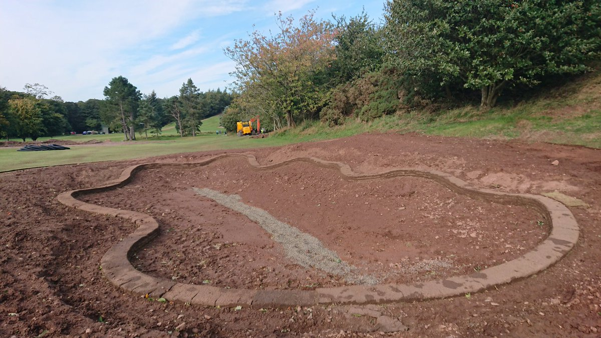 test Twitter Media - Progress on 16th hole is going well. This one is definitely my favourite new bunker so far, you'll need to think your way down the hole from now on. #NoMoreDriversForMe https://t.co/StJsRQ0fIm
