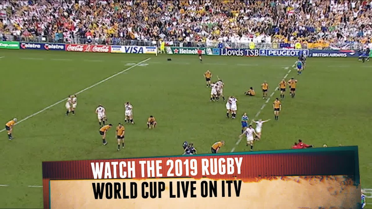 1️⃣ year to go until the 2019 Rugby World Cup 🌎🏆 A look back on one of the most dramatic finals EVER @qantaswallabies 🆚 @EnglandRugby 🏟 Stadium Australia, Sydney 🗓 22nd November 2003 Watch the 2019 @rugbyworldcup LIVE on @ITV | #RWC2019
