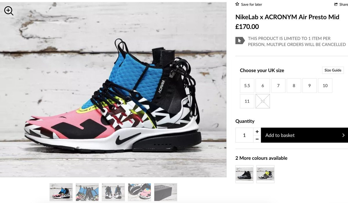 Sizes still showing Acronym x Nike Air Presto Mid    http   bit.ly 2NQsmxR  pic.twitter.com aOdZHGeZVl e9c275298