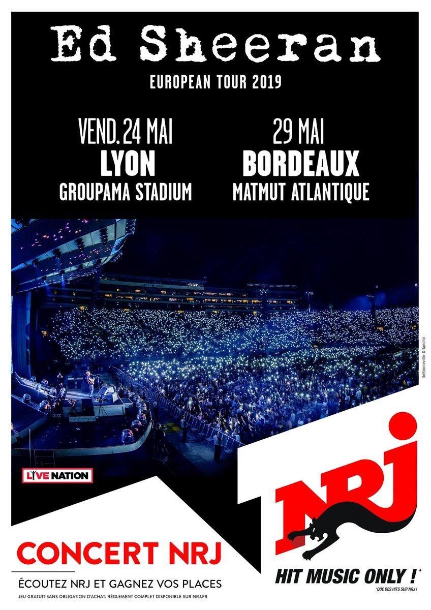 🚨 @edsheeran EN CONCERT AVEC #NRJ 🚨 Ed Sheeran sera en concert le vendredi 24 mai 2019 au @ParcOL et le 29 mai 2019 au  avec  🔥 @MatmutAtlOuverture de la billetterie le jeudi 27 septembre 🤗 Vous voulez qu'on vous offre des places ? Tweetez  !#EdSheeranAvecNRJ