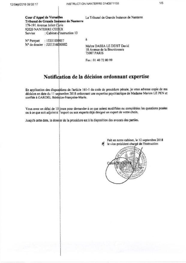 Convoquée à une expertise psychiatrique, Marine Le Pen crie au scandale DnhshNJWwAAFOYB